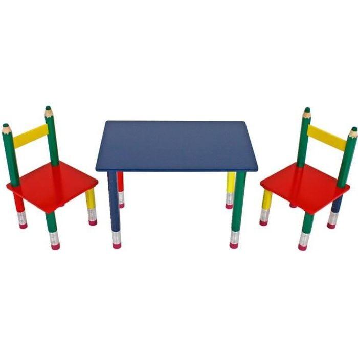TABLE ET CHAISE Table Deux Chaises Multicolores Chambre Denfant B