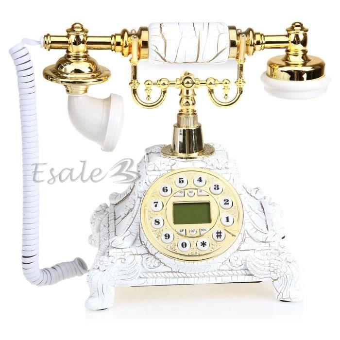 Téléphone Fixe avec Combiné Or en Résine Rétro Décoration pour Maison Blanc f597f5ad2846