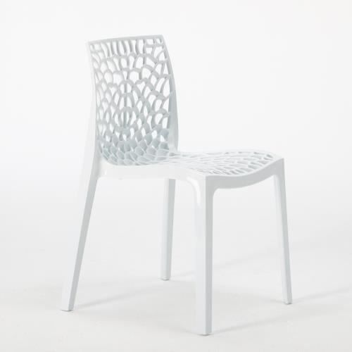 6 Chaises Gruvyer Blanc Plastique Salle A Manger Cafe Bar Empilable