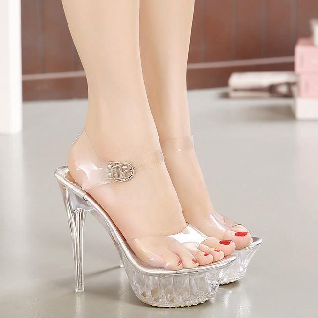 Nouveau cristal transparent élégant 14cm d'été de la mode des sandales à talons hauts