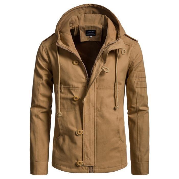 Cap Nouveau Automne Style Veste Mode Coton Homme Hommes Tendance Kaki Hiver Manteau x7SSqw1EI