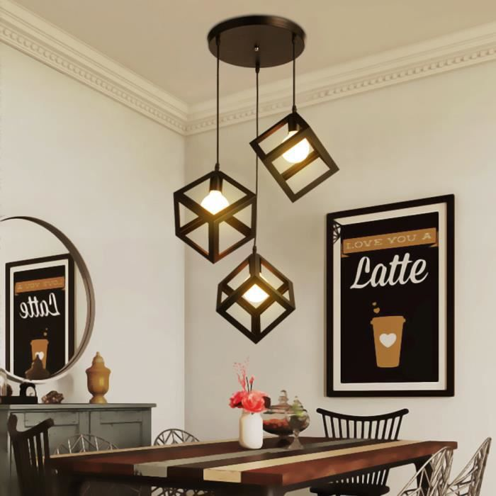 Noir Disque Contemporain E27 Industrielle Stoex Ajustable Luminaire Cube Corde Lustre Suspension Lampes Abat Jour 3 A54qR3jL