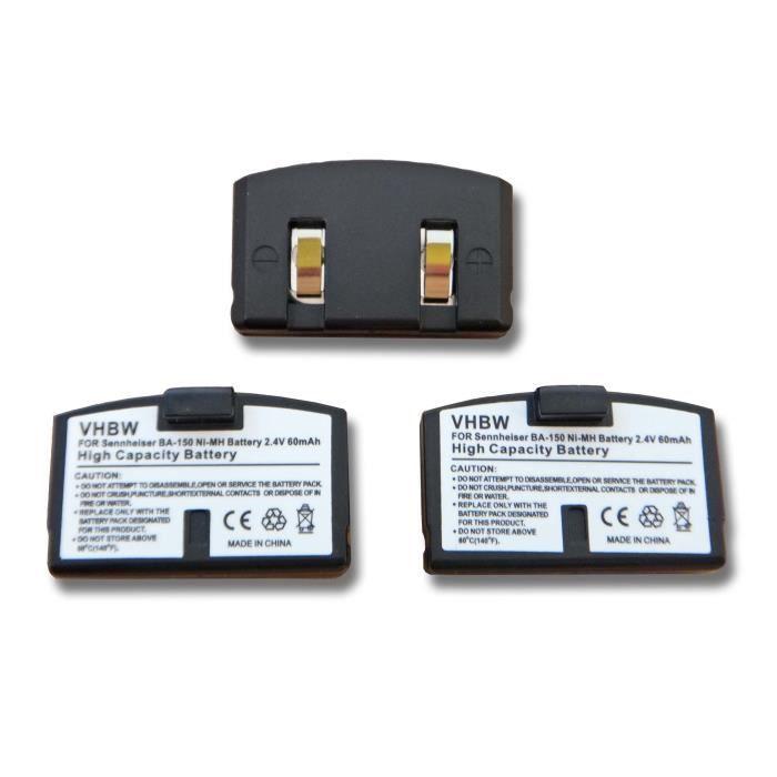 3 X Batterie De Remplacement Pour Casque Audio Sans Fil Sennheiser