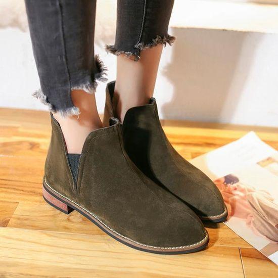 Toe Bottes Shoes Talons Femmes Bottillons vert Chaussures Carrée Rondes Couleur Spentoper Pure Daim Martin à En sxdQrothCB