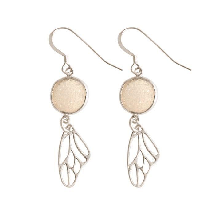 Gemshine - Dames - Boucles doreilles - papillon - ailes - wings - 925 Argent - Druzy - quartz rose - 5 cm