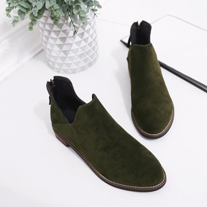 Faux Dames Solide Femmes vert Chaussures Martin Boucle Zip Bottines Bottes qvfwxOTEw
