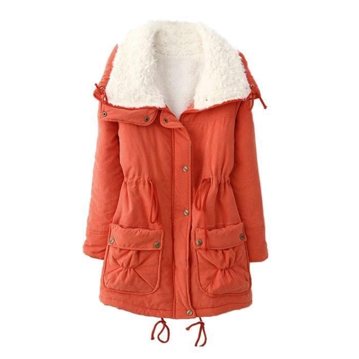 orange Outwear De Rabattu Manteau Fourrure Manteaux Femmes Col Slim D'hiver Veste Parka Chaud Bw7TxqZ