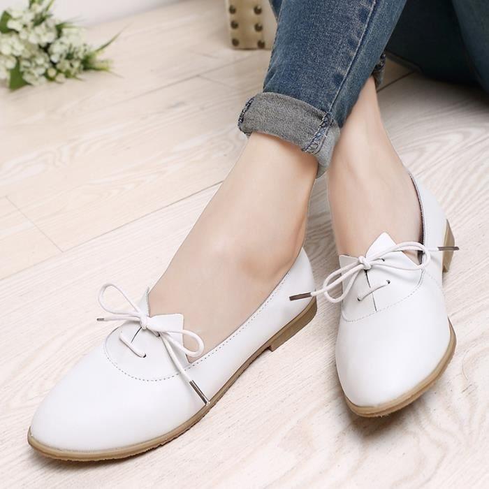 Femmes Oxford Chaussures Pointu Flats Toe Chaussures Femmes solides Chaussures en cuir véritable Mocassins à lacets Mocassins ebkyjQXw