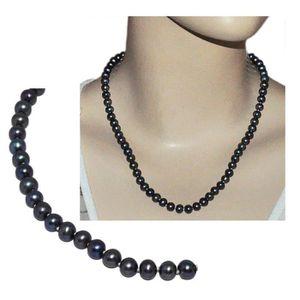 SAUTOIR ET COLLIER Collier en argent massif 925 Perle de culture noir