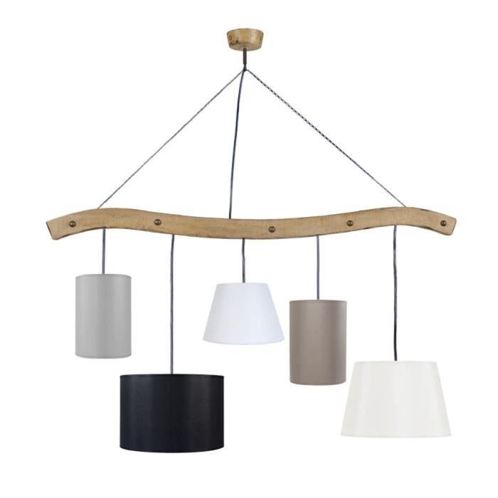 Matière : bois et tissu - Dimensions : 11x90 cm - Diamètre : 11 cm - Coloris : ciré, gris, noir et blancLUSTRE - SUSPENSION
