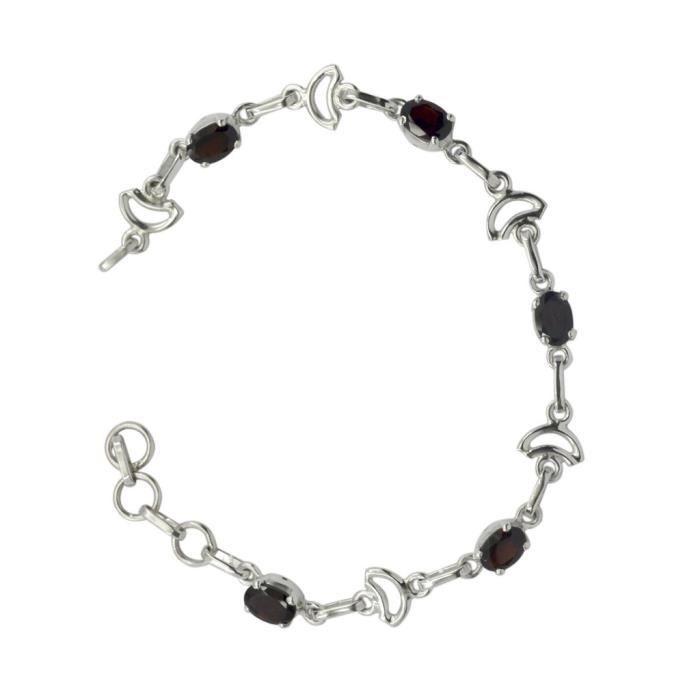 Garnet Bracelet - Bracelet Argent - Bracelet Rouge - Bracelet Rouge Argent