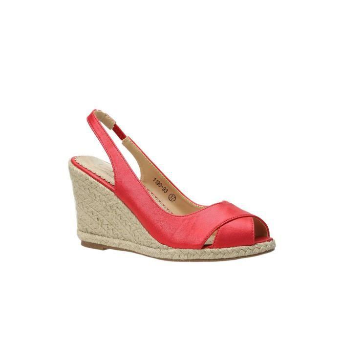 Sandales compensées ROUGE qbZG240A