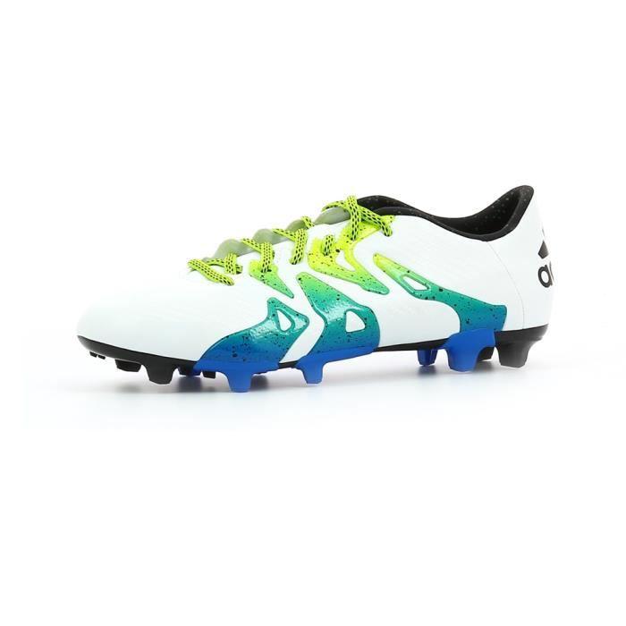 online retailer d0613 a1cc6 ADIDAS Chaussures de Foot pour terrain sec homme X15.3 FGAG - Blanc  Bleu