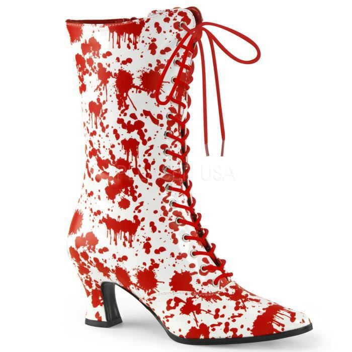 Funtasma VICTORIAN-120BL 2 3/4 Inch Heel, Front Lace Up Mid-Calf Boot, Side Zip
