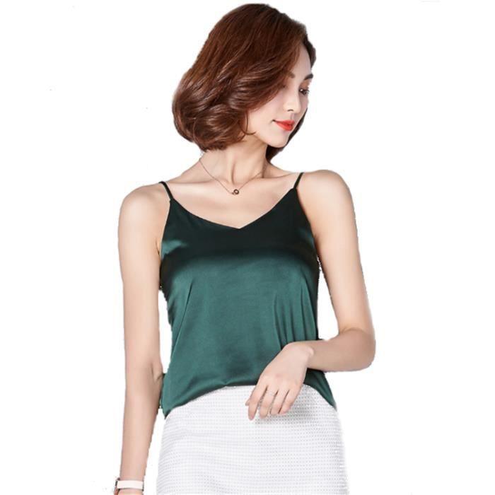 963f9b044662b Caraco Débardeur Femme à fines Bretelles Top T-shirt sans manches Col V Dos  nu Uni