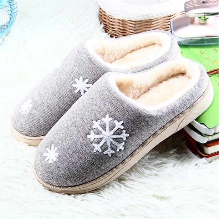 Homme Chausson Hiver Confortable Flocons De Neige Chaussons Simple Chaussure Garde Au Chaud Doux Classique Coton Haut qualité 42-45