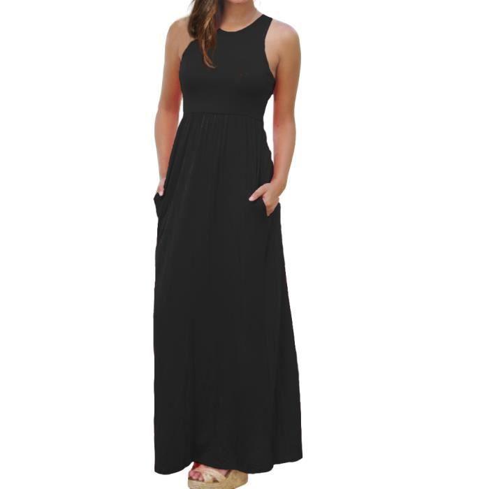 Femmes Pur Couleur Racerback Lâche Plaine Maxi Robes Swing Décontracté Longues Robes Avec Poches Noir S