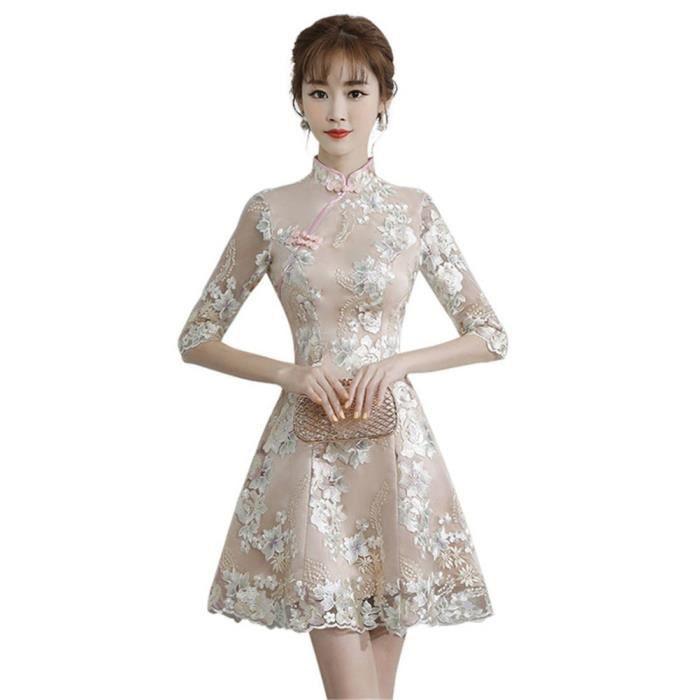 a495dc3e1eabe Robe Douce Cheongsam Pour jeune fille Créative Courte A Blanche M ...