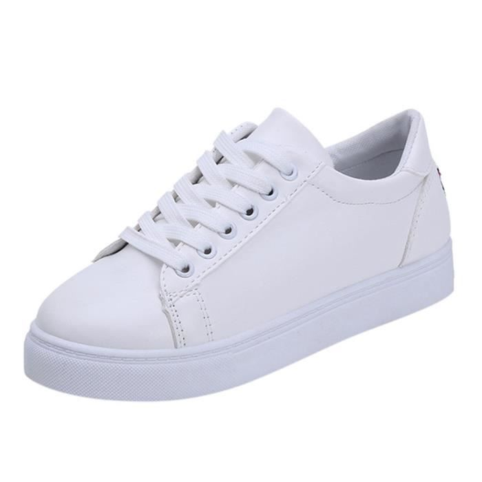 Flat Kanyrne White Toe Féminine Ronde Cartoon Cat Mode Sneakers Embroier Casual Blanc HBOxwH07