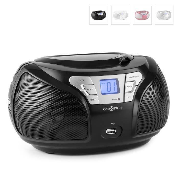 Oneconcept Groovie - Boombox Ghettoblaster Portable Avec Bluetooth, Lecteur Cd Et Radio Fm (usb, Entrée Aux, Mp3) Noir