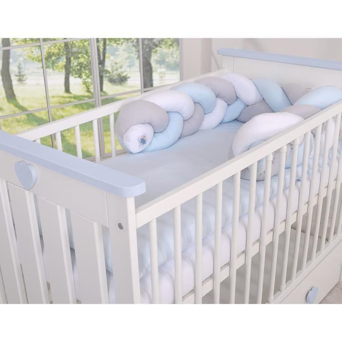 Tour de lit bébé Magic Loop blanc gris bleu - Achat / Vente tour de ...