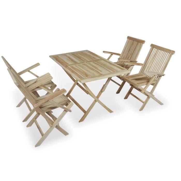VidaXL Mobilier de jardin 5 pcs Pliable Teck - Achat / Vente salon ...