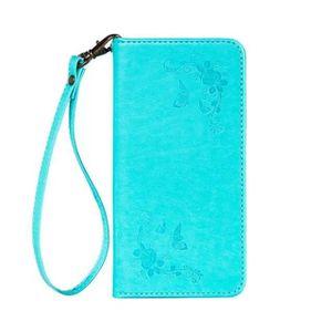 HOUSSE - ÉTUI Etui Samsung S4. Bleu menthe fleur papillon vintag