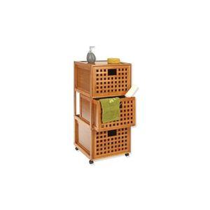 Rangement salle de bain bambou achat vente pas cher for Meuble de rangement salle de bain bambou