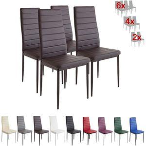 chaise set de 4 chaises milano marron - Chaise En Bois Salle A Manger