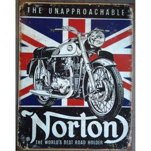 OBJET DÉCORATION MURALE plaque moto norton unapprocable drapeau anglais to a42540feed5