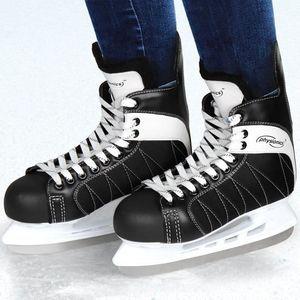 KIT SPORT DE GLACE Patins de hockey sur glace noir-blanc - Taille 42