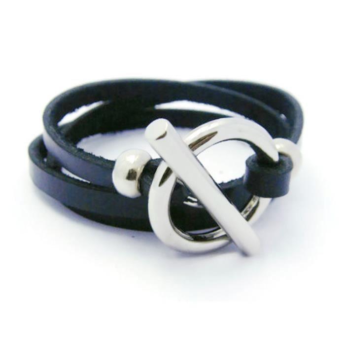 Womens Jewelry Quality Black Leather Adjustable Charm Bangle Wristband Cuff Bracelet, Sa1 KUBZS