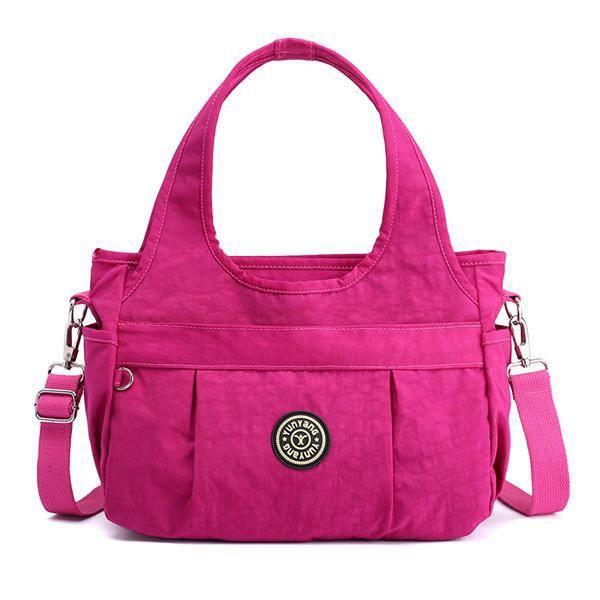 SBBKO4384WomenNylonSacàbandoulièreléger à sac à main résistant à leau pour femmes Rose rouge