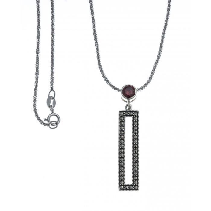 Collier argent rhodié - marcassites - zircon imitation grenat - 40cm Gris