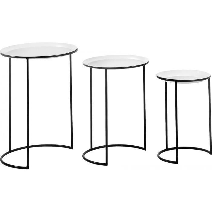 01520b13b43be0 Set de 3 tables gigognes design plateau en blanc et piètement en ...