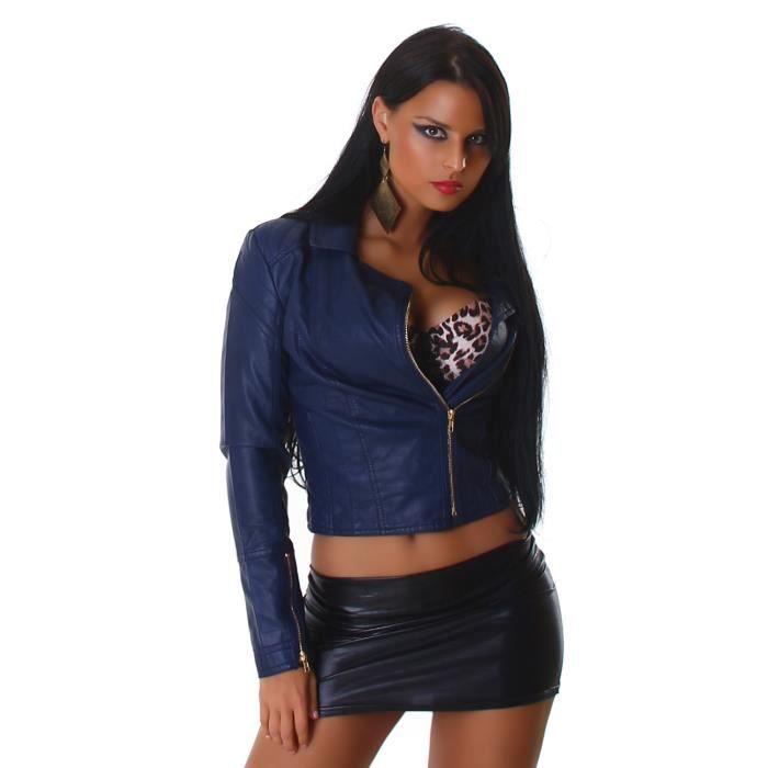 Veste en cuir bleu femme pas cher