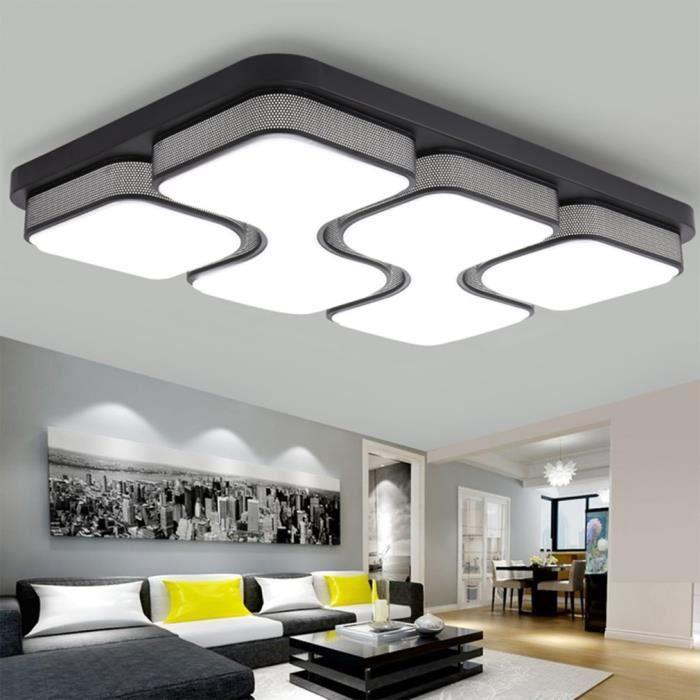 Plafonnier Led Salon Design Rectangulaire 78x53 Cm 80 W Blanc