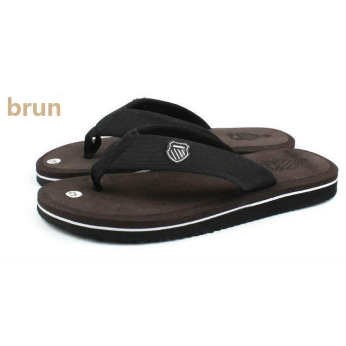 Hommes sandales mode sandales glisser brun QobF3D