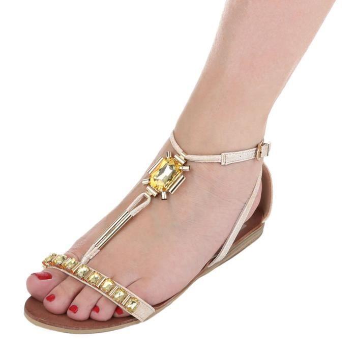 femme sandale chaussure chaussures d'été chaussures de plage Strappy escarpin Beige