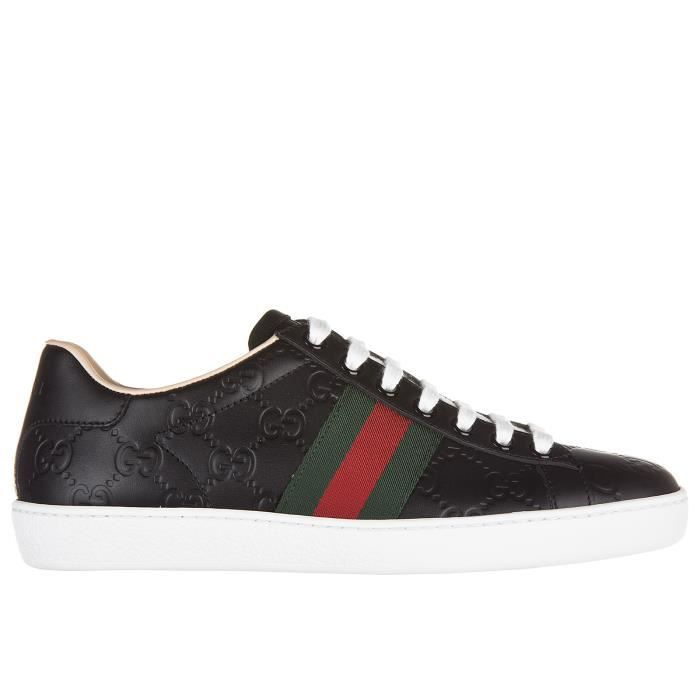 Chaussures baskets sneakers femme en cuir signature Gucci