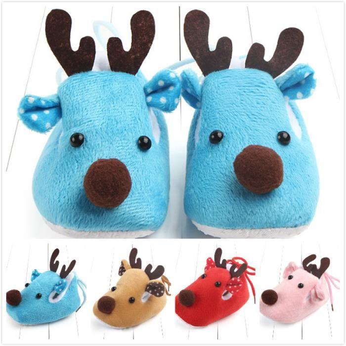 Nouveau-né Bébé Chaussures De Noël Mignon Infantile Chaussures D'hiver Lucky Cerf Doux Sole Princess Chaussures