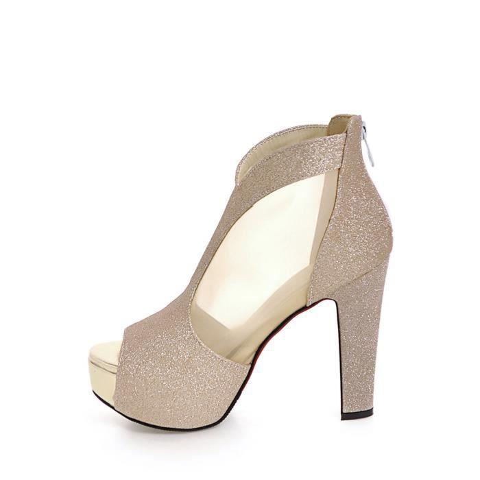 Sandales élégantes Peep Toes Chaussures à plate-forme de talon épais Patchwork 4042730