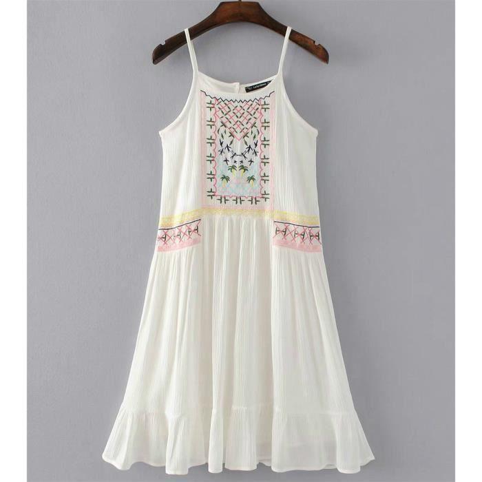robe de broderie dété fille floral fronde robe mini robe dépaule froide coton robe lâche A- Line Dress