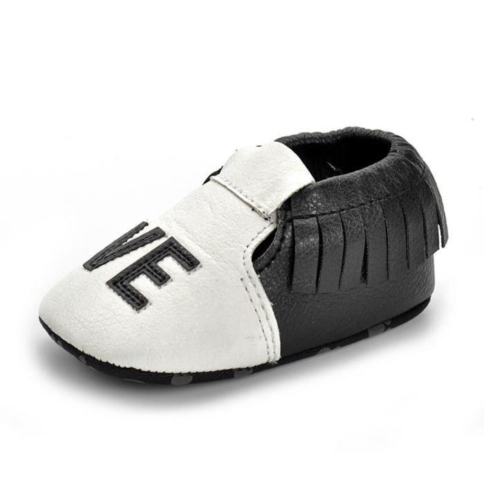 BOTTE Nouveau-né Filles Garçons Crib Chaussures Doux Semelle Anti-slip Bébé Sneakers Glands Chaussures@NoirHM