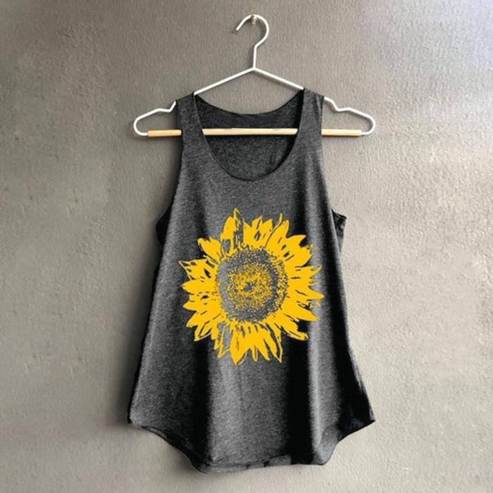 Top Imprimer Confortable Femmes Débardeur Sunflowe Souple Gris En shirt Décontracté Vrac Manches T rCxhQdts