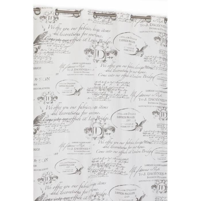 rideaux blanc avec motif gris   vente pas cher