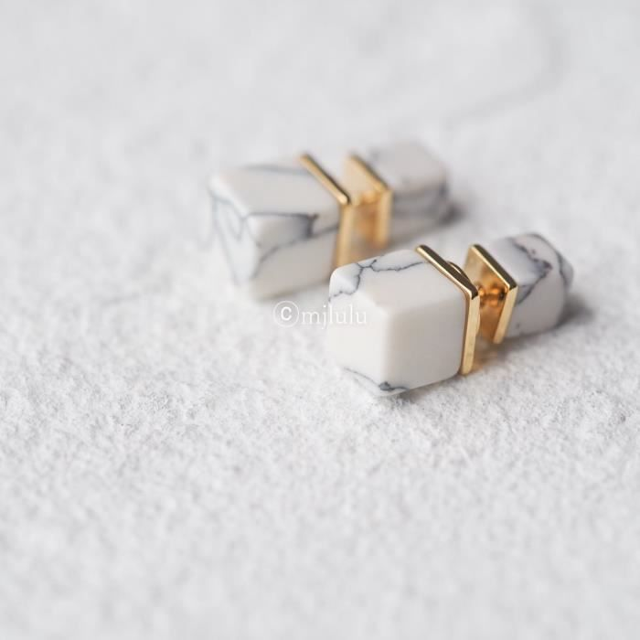 Womens White Simulated Howlite Geometric Square Double Sided Front And Back Stud Earrings HSX17