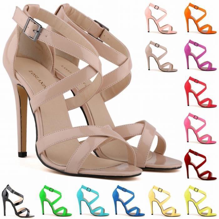 Sandales femmes été nouvelle mode ouvert orteils chevilles hauts talons