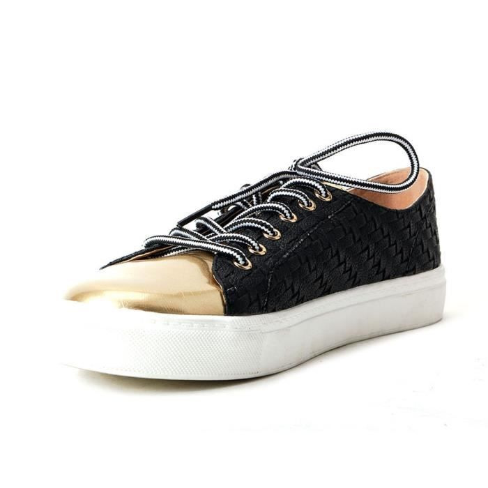 Comfy Woven Lace Up Loafers Shoes Mixed Color Footwear OKENL Taille-41