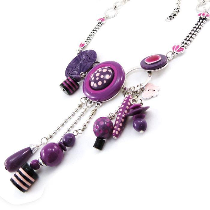 Collier Créateur Pimprenelle violet